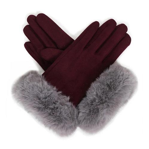 Bettina Faux Suede Gloves - Damson