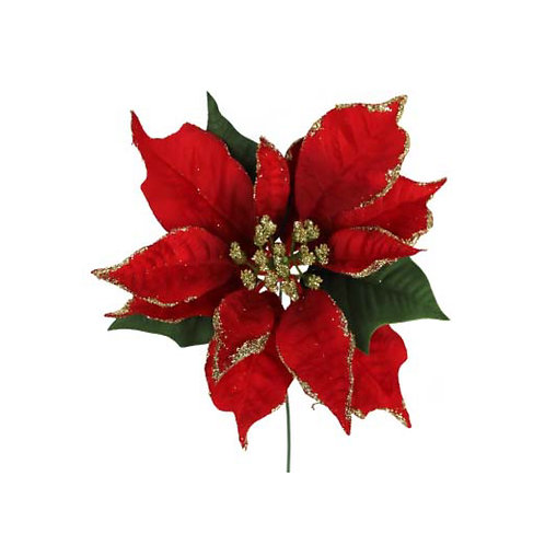 Red Fabric Poinsetta Pick