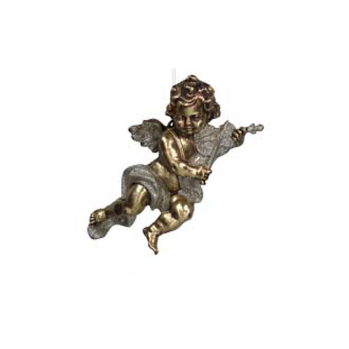 Old Gold Acrylic Cherub Hanging Decoration - Large