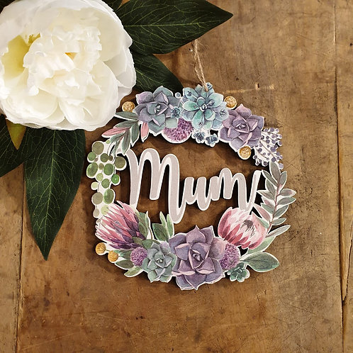Hanging 'Mum' Floral Decoration