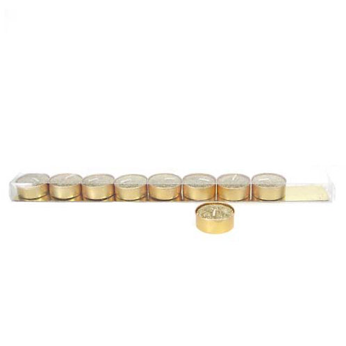 Gold Glittered Wax Tealight - Pack of 9