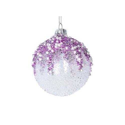 Clear Beaded Glass Bauble with Pink, Lilac and Pearls