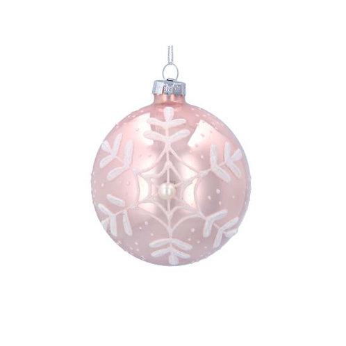 Matte Pink Glass Bauble with Iridescent Snowflake