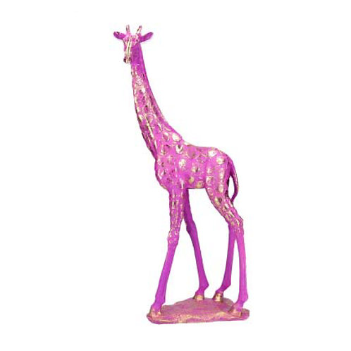 Fuchsia Pink and Gold Resin Giraffe Ornament