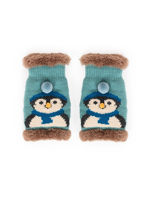 Cosy Penguin Wrist Warmers - Ice