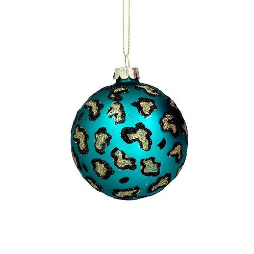 Matte Teal Leopard Print Glass Bauble