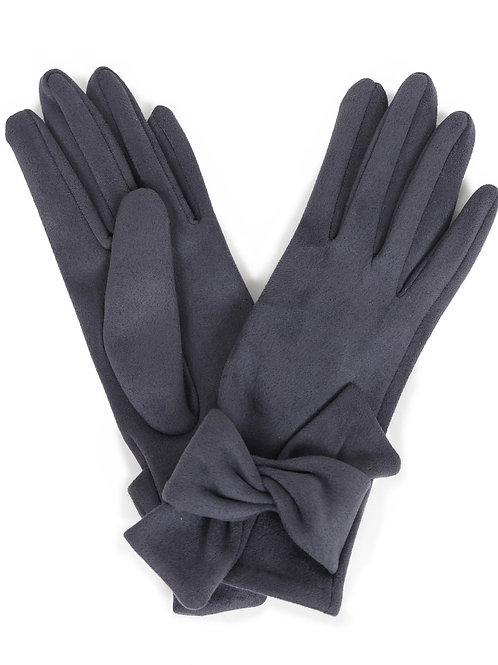 Henrietta Faux Suede Gloves - Charcoal