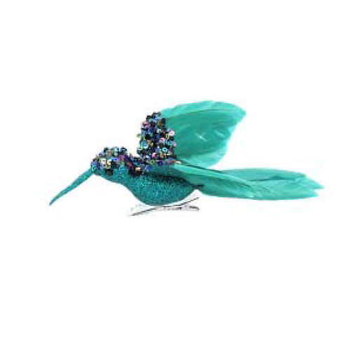 Turquoise Feather Hummingbird Clip