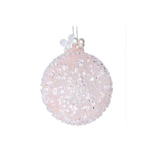 Pale Pink Beaded Glass Bauble with Pearls