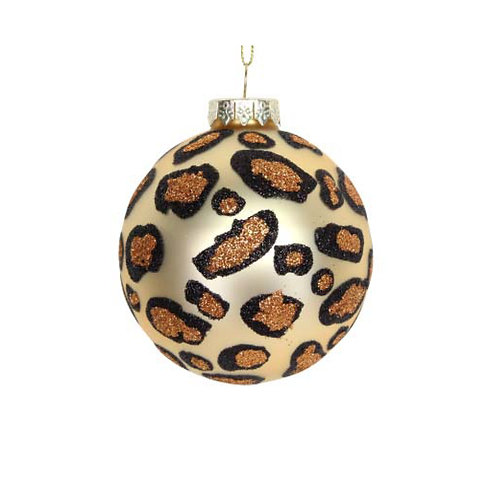 Matte Gold Leopard Print Glass Bauble