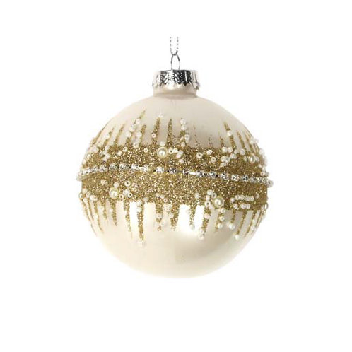 Lacquered  Cream Glass Bauble with Gold Glitter Band