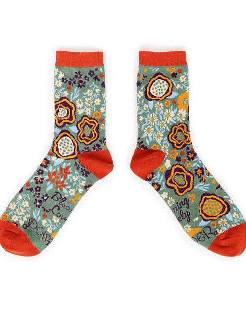 Abstract Floral Ankle Sock - Moss