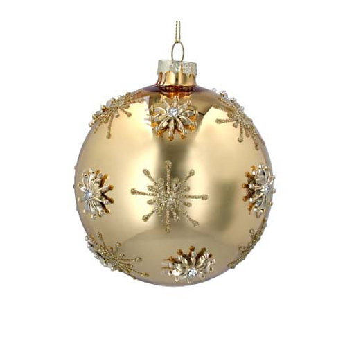 Laquered Gold Glass Bauble Diamanté Gold Stars