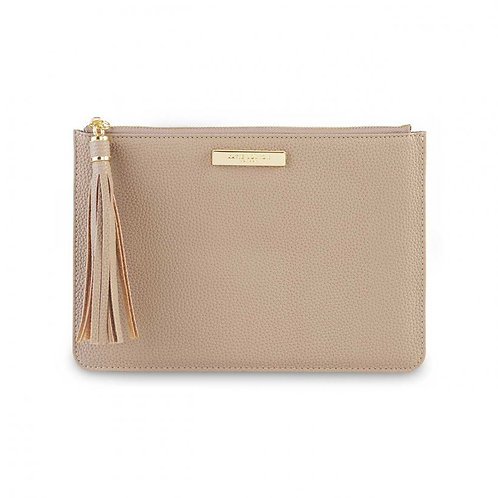 KATIE LOXTON TASSEL POUCH | TAUPE