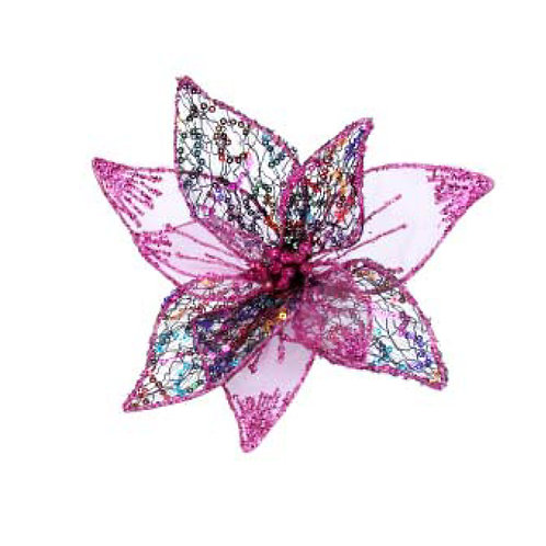 Wired Mesh Pink Flower Clip