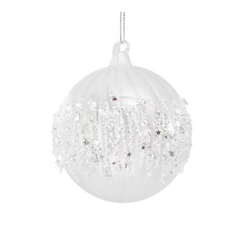 Clear Ribbed Bauble with Glitter Icicle Band, 100mm