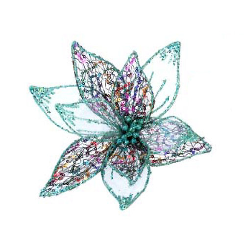 Wired Mesh Teal Flower Clip