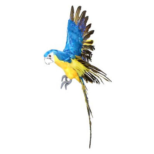 Hanging  Blue and Yellow Flying Parrot Ornament