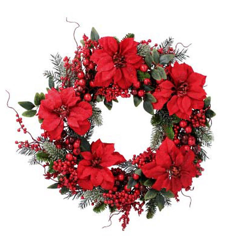 Fir Wreath with Red Poinsettia and Berries