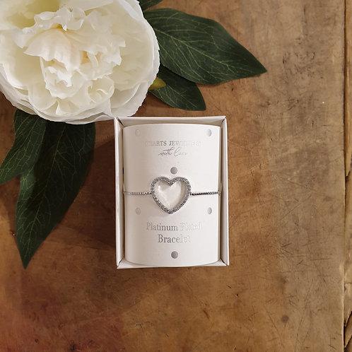 Heart Bracelet - Platinum Plated