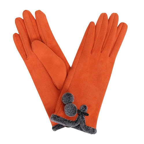 Amelia Faux Suede Gloves - Tangerine