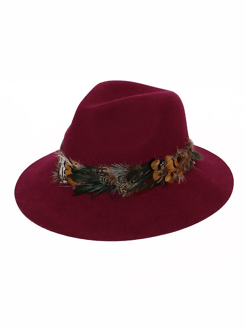 Feather Band Wool Hat - Magenta