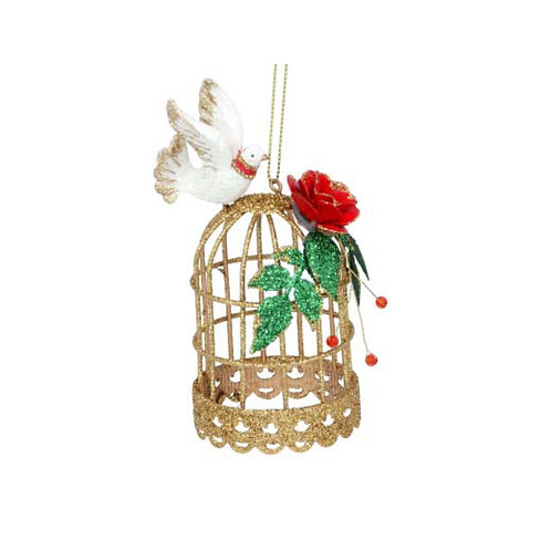 Gold Metal Birdcage with a Dove and Roses Decoration