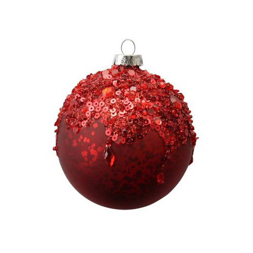 Antique Cherry Red Glass Bauble with Crushed Beads and Sequins