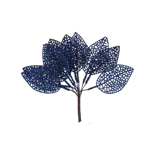 Blue Glitter Leaf Pick