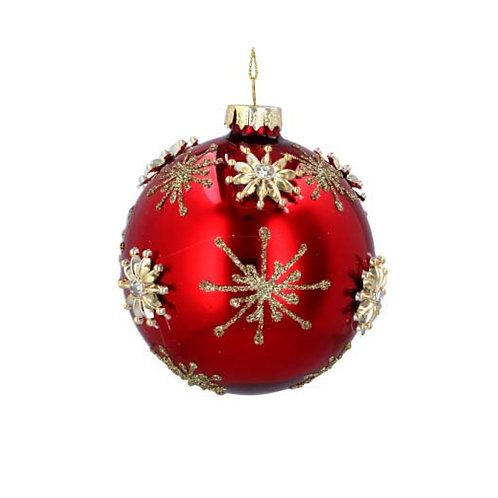 Lacquered Red Glass Bauble with Gold Raised Stars
