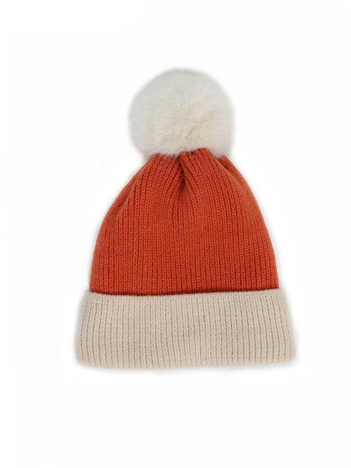 Bonnie Pom Pom Hat - Tangerine
