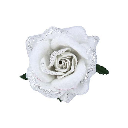 White Fabric Glitter Rose Clip