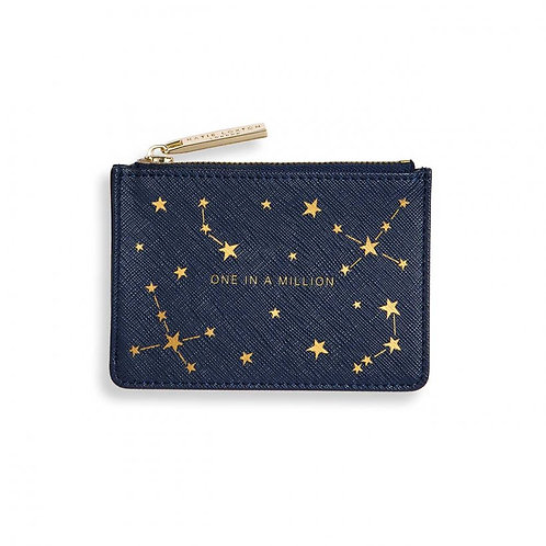 KATIE LOXTON GOLD PRINT CARD HOLDER | ONE IN A MILLION | NAVY BLUE