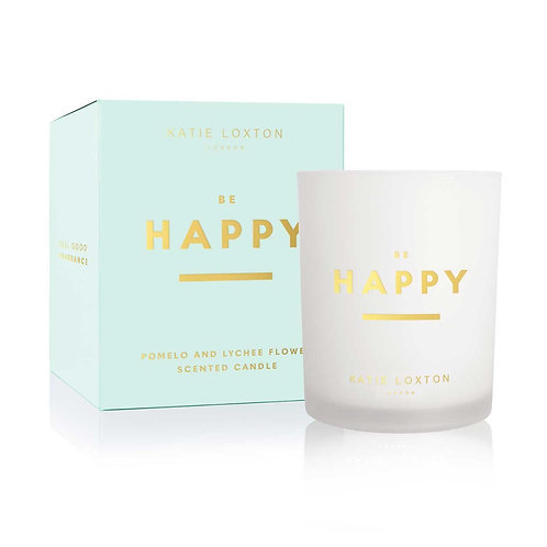 Katie Loxton - 'Be Happy' Scented Candle - Pomelo & Lychee Flower