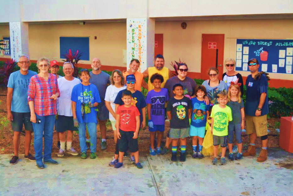 Equality Garden Club members and Wilton Manors Elementary School teachers,  parents, and student volunteers