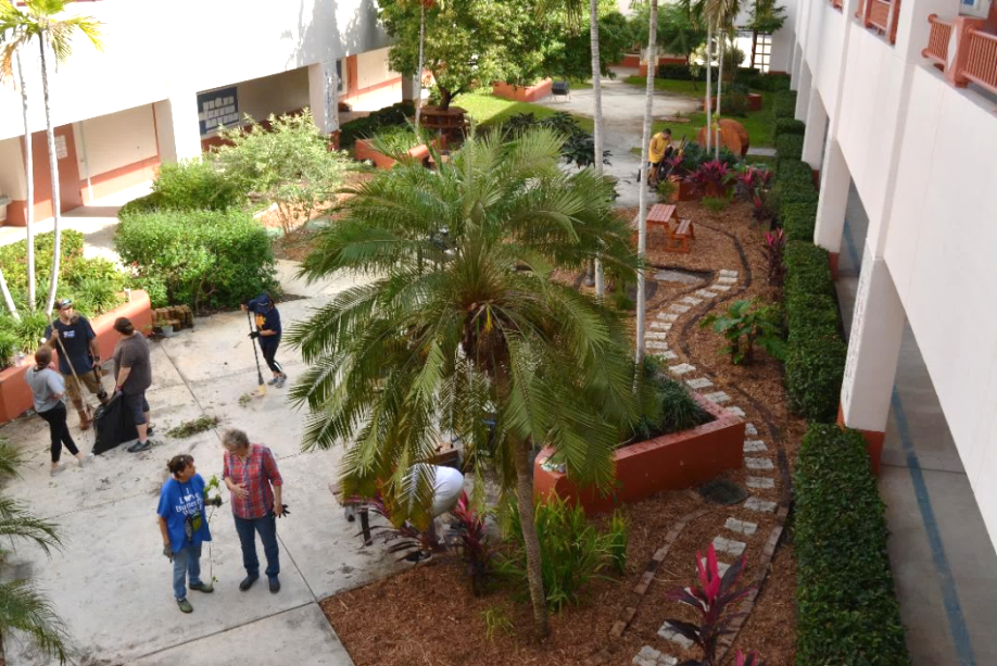 Aerial view of the new Butterfly Garden Atrium