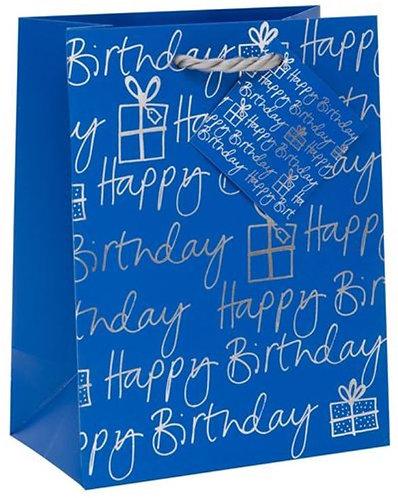 Glick - Medium Blue Birthday Gift Bag