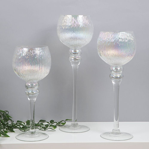 SET OF 3 PEARLISED GLASS GOBLET STYLE CANDLE HOLDERS