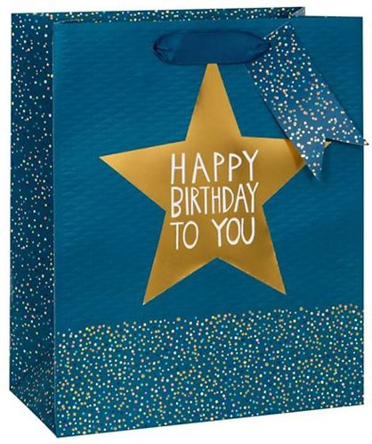 Glick - Large Blue Birthday Star Gift Bag