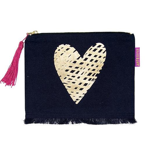 ARTEBENE Navy Cotton Cosmetic Bag