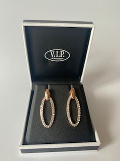 VIP Rose Gold Oval Drop Earrings