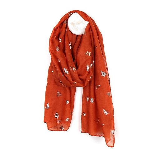 POM - Orange scarf with metallic rose gold bee print