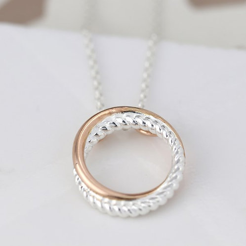 POM - Sterling silver twist and rose gold linked hoop necklace