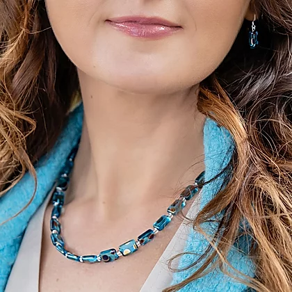 Carrie Elpseth Turquoise Dotty Rectangles Necklace