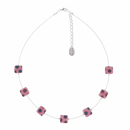 Carrie Elpseth Pink Dotty Squares Necklace