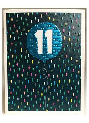 Blue Balloon '11' Card