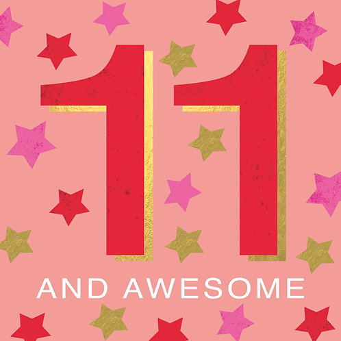 Pink 11 & Awesome Card