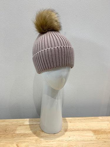 POM - Cable Knit Lined Pom-Pom Hat