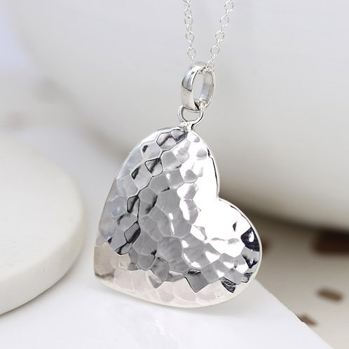 POM - Sterling silver large heart necklace with hammered finish