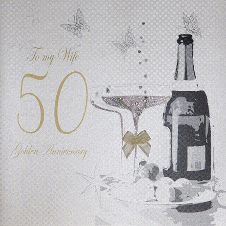 White Cotton - Wife 50 Golden Anniversary (Large Card)